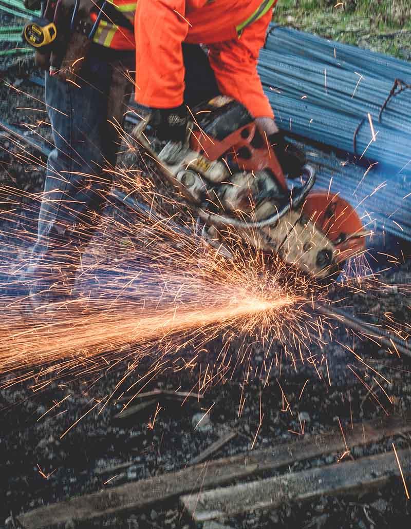 Cutting rebar onsite